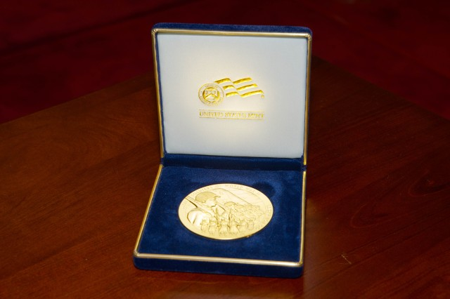 The Congressional Gold Medal pictured was presented by members of Congress to representatives from the 100th Infantry Battalion, 442nd Regimental Combat Team and the Military Intelligence Service on Nov. 2 at the Capital.