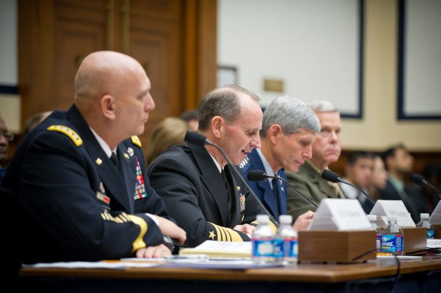 Chief of Naval Operations Adm. Jonathan W. Greenert testifies before the House Armed Services Committee along with Army Chief of Staff Gen. Raymond T. Odierno, Air Force Chief of Staff Gen. Norton A. Schwartz, and Marine Corps Commandant Gen. James F. Amos at Capitol Hill Nov. 2, 2011, in Washington, D.C.