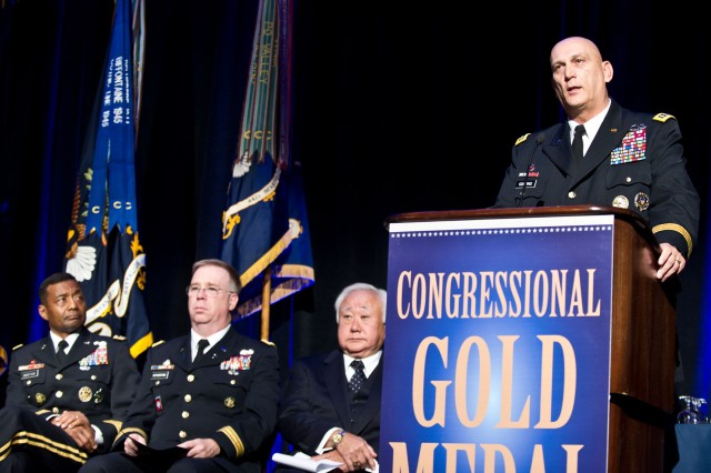 U.S. Army Chief of Staff Gen. Raymond T. Odierno delivers the keynote address during World War II Nisei Veterans Program National Veterans Network tribute to the 100th Infantry Battalion, 442nd Regimental Combat Team and Military Intelligence Service Nov. 1, 2011, in Washington, D.C.