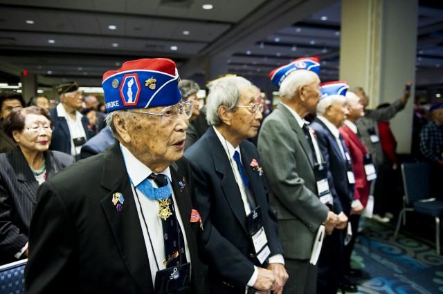 Nisei World War II Veterans from the  442nd Regimental Combat Team attend the World War II Nisei Veterans Program National Veterans Network tribute to the 100th Infantry Battalion, 442nd Regimental Combat Team and Military Intelligence Service Nov. 1, 2011, in Washington, D.C.