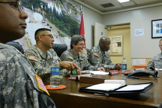 FORT BUCKNER, Okinawa - (From left) Maj. Delton Nix, executive officer  of the 58th Signal Battalion,  Lt. Col. Bert Shell, 58th Signal Battalion commander, Brig. Gen. Janice Haigler, Deputy Commanding General, 311th Signal Command (Theater) and Command Sgt. Maj. Andrew Wynn, 58th Signal Battalion command sergeant major, discuss battalion issues. This was newly-appointed Haigler's first visit to the unit.  Haigler, who holds a unique position as a U.S. Army Reserve officer assigned to the Hawaii-based 311th Headquarters, also visited the 333rd Signal Company at the newly completed Regional Hub Node in Guam, during her tour.  (Photo by 1st Lt. Patrice Conyers, 311th Signal Command)