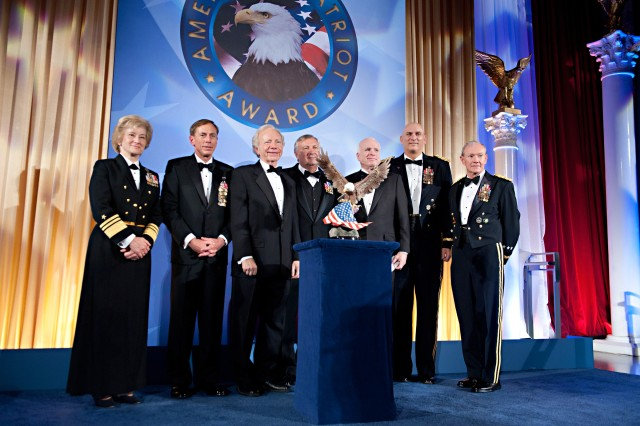 Senior defense and national security leaders were on hand as the National Defense University Foundation honored Arizona Sen. John McCain and Connecticut Sen. Joseph Lieberman at its American Patriot Award dinner in Washington, D.C., Nov. 3, 2011.