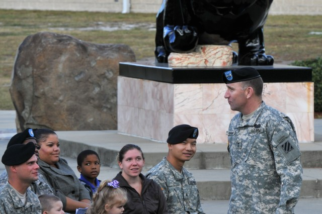 """Maj. Gen. Robert """"Abe"""" Abrams, Third Infantry Division commanding general, addresses Third ID Soldiers and their families before conducting their re-enlistment ceremony Nov. 3, 2011, at Fort Stewart, Ga."""
