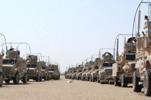Thousands of tactical vehicles are transported from Iraq to Camp Virginia, Kuwait where the 402nd Army Field Support Brigade and the Army Materiel Command will clean them up and ship them out to restock America's Army.