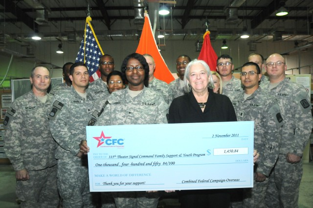 """CAMP ARIFJAN, Kuwait - Brig. Gen. Kaffia Jones (front left), commanding general of the 335th Signal Command (Theater) (Provisional) and Beaufort, S.C. native, is presented a check from Family Support and Youth Programs from Renee S. Acosta (front right), Global Impact president and CEO. Global Impact is the Department of Defense campaign management organization for the Combined Federal Campaign """" Overseas. FSYP is one of the many charitable programs offered through CFC-O. Third Army's commitment to the well-being of its communities remains a priority and reflects the strength of our nation by providing charitable donations throughout the world."""