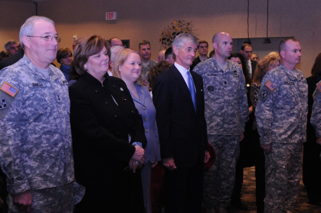 From left, Maj. Gen. James O. Barclay, Debbie Barclay, New York State Assemblywoman Addie Russell, Secretary of the Army John McHugh, Garrison Command Sgt. Maj. John F. McNeirney and Col. Dennis Sullivan, 2nd Brigade Combat Team commander.