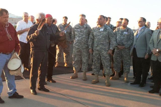 The White Mountain Apache tribal blessing of the new helicopter  included a prayer , the singing of two songs and a final blessing. The semi-private ceremony on Boeing's flight line at dawn Nov. 2 had about 30 attendees.