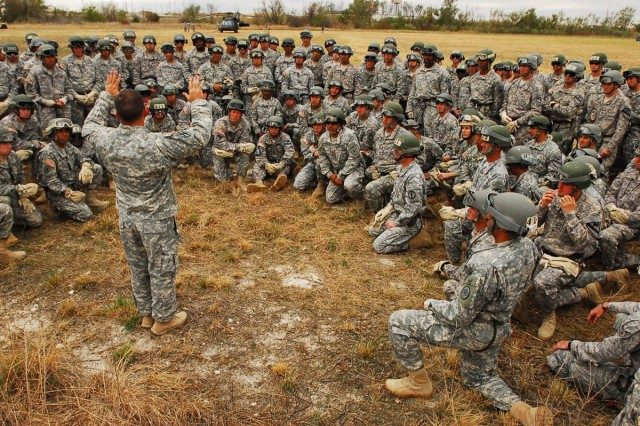 An instructor from a Mobile Training Team out of Fort Benning, Ga., conducts a safety briefing before members of Fort Hood's first Air Assault Course in two decades Oct. 27, 2011, at Fort Hood, Texas.