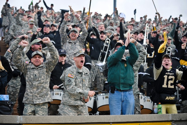 Fans of the Army Black Knights cheer their team during the Army vs Air Force game at the U.S. Air Force Academy in Colorado Springs, CO, Nov. 5, 2011.