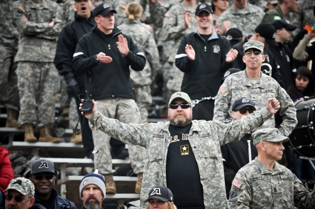 A fan of the Army Black Knights cheers his team during the Army vs Air Force game at the U.S. Air Force Academy in Colorado Springs, CO, Nov. 5, 2011.