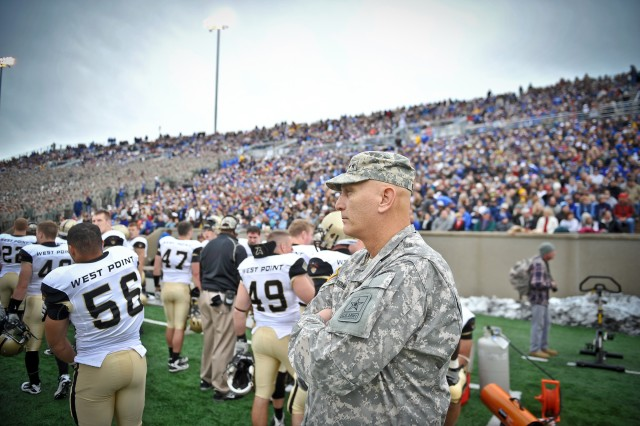 U.S. Army Chief of Staff Gen. Raymond T. Odierno watches the Army vs Air Force game from the Army Black Knights sideline at the U.S. Air Force Academy in Colorado Springs, CO, Nov. 5, 2011.