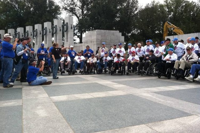 Veterans who took part in the 13th mission for the Missouri Ozarks Honor Flight visited the World War II Memorial Oct. 26, 2011, in Washington D.C. The Ozarks Honor Flight, in two short years, has taken more than 1,000 veterans to see the World War II Memorial.