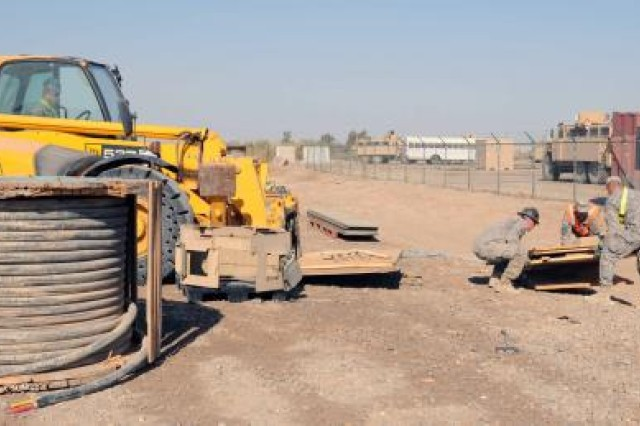 Soldiers from the 1729th Field Support Maintenance Company from Havre de Grace, Md., load wood scraps onto a forklift on Contingency Operating Base Adder, Iraq, Nov. 2, 2011.
