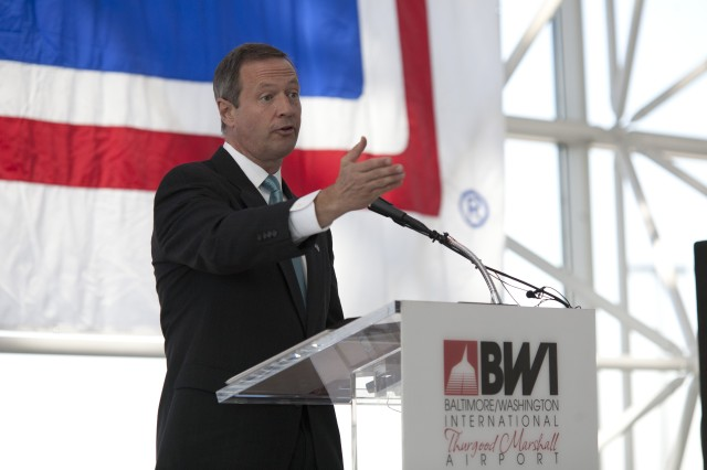 Maryland Governor Martin O'Malley talks about our Nation's committment to our veterans during the USO-Metro's Veterans Day ceremony and Fort Meade Community Covenant signing ceremony at BWI International Airport on Tuesday.