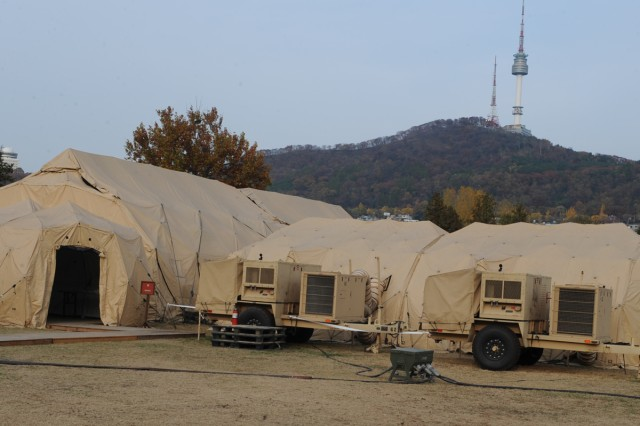 Eighth Army set up its mobile command post for the computer-simulation command post exercise Warpath III in Seoul, South Korea, from Oct. 31 to Nov 11, 2011.