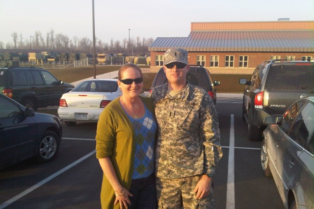 Chrystyna Kestler stands with her son, 1st Lt. Joseph Theinert, before his deployment to Afghanistan with 1st Squadron, 71st Cavalry Regiment in 2010.