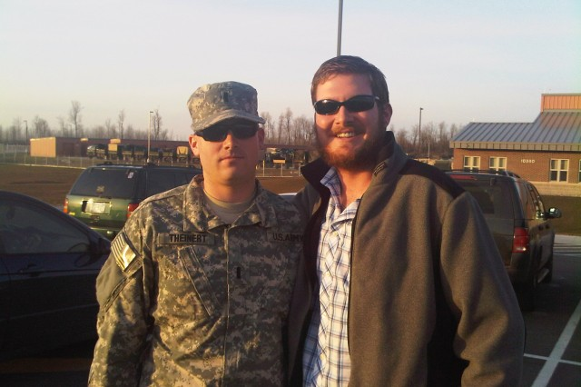 First Lt. Joseph Theinert stands with his little brother, Jimbo, before his deployment to Afghanistan with 1st Squadron, 71st Cavalry Regiment in 2010.