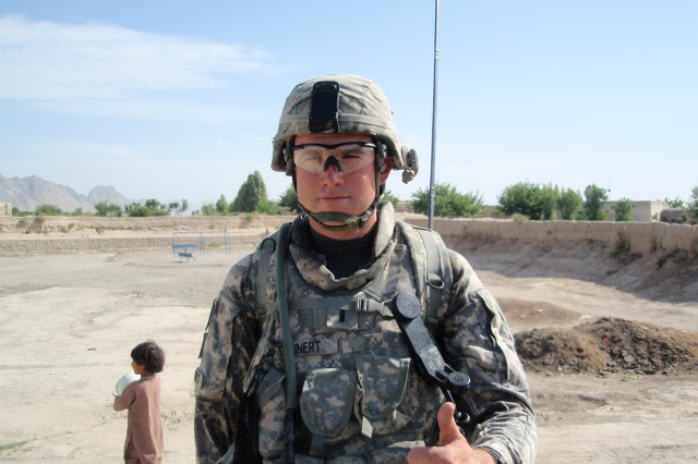 "First Lt. Joseph J. Theinert gives a ""thumbs-up"" for the camera during a 2010 deployment to Afghanistan. Theinert was killed on June 4, 2010, while serving with 1st Squadron, 71st Cavalry Regiment."