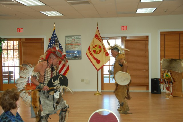 Employees enjoyed dance presentations by Wayne Adkins, assistant chief of the Chickahominy Tribe and  Virginia Indian Tribal Alliance for Life  president, and Col. (Ret.) John Fortune, Rappahannock Tribe counsel member.