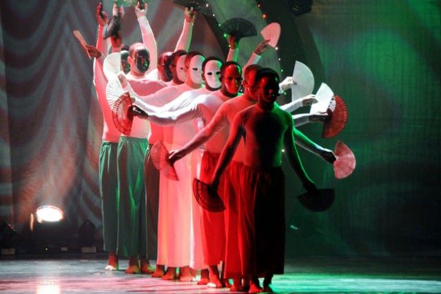 Soldiers performed several multicultural numbers during the 2011 U.S. Army Soldier Show, including Asian-inspired dances using masks, fans and decorative lighting.