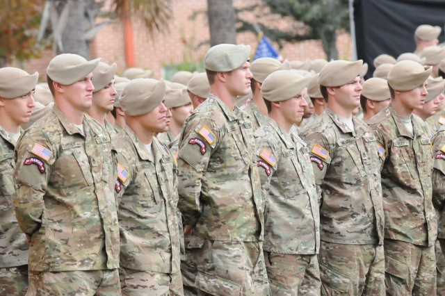 Rangers with the 1st Battalion, 75th Ranger Regiment, stand at attention during a memorial ceremony honoring Staff Sgt. Jeremy Katzenberger and Sgt. Alessandro Plutino, both of  Compnay B, who were killed in Afghanistan during their most recent deployment.