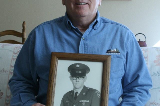 FORT CARSON, Colo. -- Richard Pike holds a picture of himself as a younger Soldier in the early 1970s. A retired sergeant first class, Pike continues to work with Soldiers and veterans throughout Colorado.