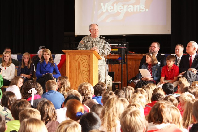 Lt. Gen. Richard P. Formica, U.S. Army Space and Missile Defense Command/Army Forces Strategic Command, speaks at East Elementary School in Cullman during the school's Veterans Day program Thursday.