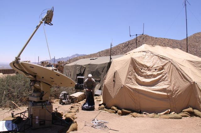 A SIPR/NIPR Access Point, or SNAP terminal, is shown in the mountains of White Sands Missile Range, N.M., during the Army's first Network Integration Exercise in June 2011. The SNAPs are being further integrated this week in NIE 12.1.