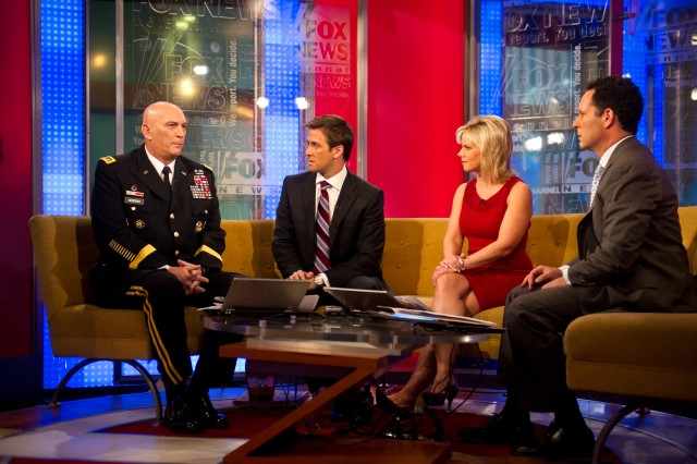 U.S. Army Chief of Staff Gen. Raymond T. Odierno speaks with journalists at Fox & Friends in New York City, N.Y., during his visit to participate in the Veterans Day Parade Nov. 11, 2011.