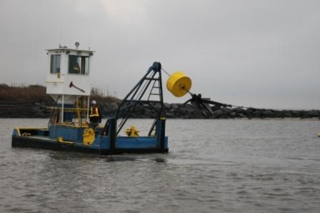 The U.S. Army Corps of Engineers' Philadelphia District completed maintenance dredging along the New Jersey Intracoastal Waterway near the Cape May ferry terminal Nov. 10.  The recently finished work was part of a $448,000 contract with Southwind Construction Corp. to remove 32,000 cubic yards of sediment from the channel to enable the Cape May-Lewes ferry and other vessels to safely navigate the waterway