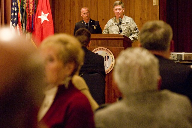 Brig. Gen. John J. McGuiness, Natick Soldier Systems Center senior commander, speaks at the Town of Natick Veterans Appreciation Dinner, held Nov. 11 at NSSC.