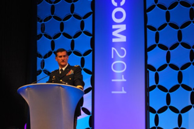 Maj. Gen. Randolph P. Strong, commander of the U.S. Army Communications-Electronics Command, gives welcome remarks Nov. 7 during the MILCOM 2011, the military communications conference, at the Baltimore Convention Center held Nov. 7 to 10.