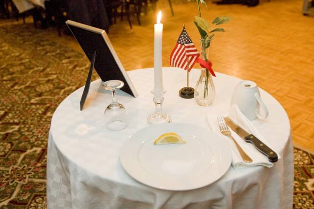 The POW/MIA Table at the Town of Natick Veterans Appreciation Dinner at Lord Community Center represented service members who have yet to come home.