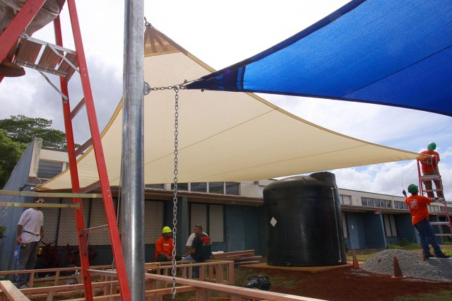 The newly constructed outdoor classroom at Hale Kula Elementary School at Schofield Barracks will feature aboveground gardens, a rainwater harvesting system and curricula to complement sustainability programs that are part of fifth-grade coursework.