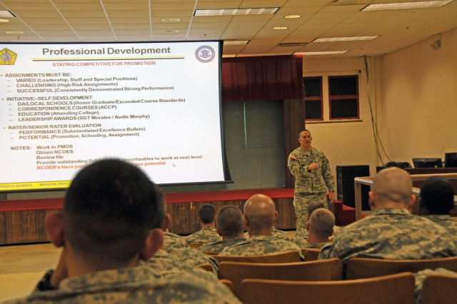 Master Sgt. Jason Boorn, professional development noncommissioned officer, talks to a class at the Electronic Warfare School in September at Fort Sill, Okla. The Center for Army Leadership is seeking input from noncommissioned officers on the positives and negatives of Army culture and leadership.