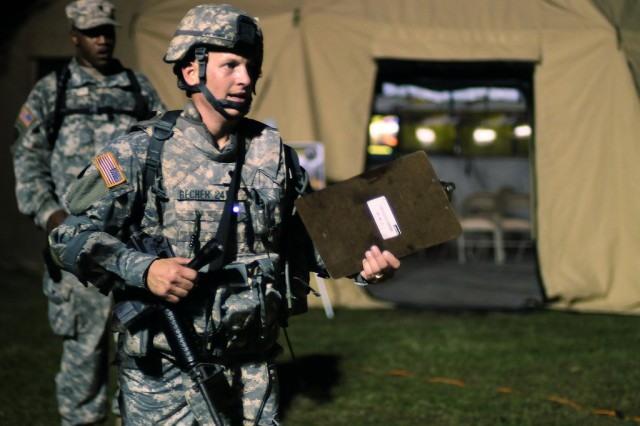 Spc. Shiloh Becher finishes the night Urban Warfighting Orienteering Course at the Department of the Army Best Warrior Competition at Fort Lee, Va., Sept. 30, 2009. Becher was the 2009 Army Reserve Soldier of the Year.