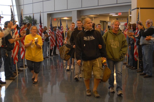 Wounded Warriors from across the country are welcomed to Huntsville by the Patriot Guard Riders and members of the community for the Semper Fi Community Task Force's Heroes Week.
