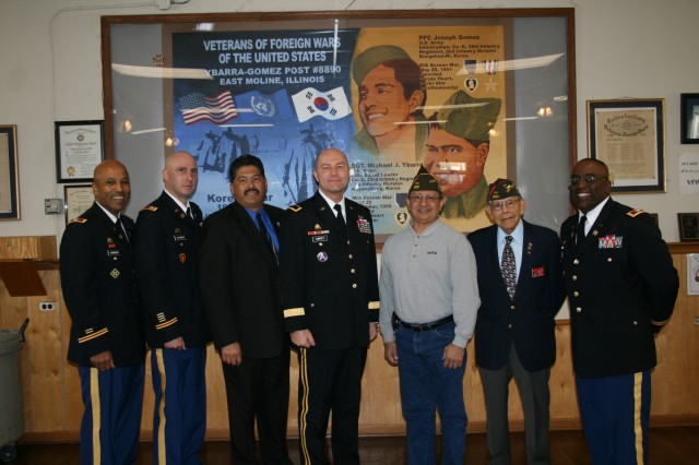(From Left) Col. Victor Harmon, Capt. Eric Pahnke, Brig. Gen. Thomas Harvey, and Col. Richard Dix, Army Sustainment, were luncheon guests of VFW Post 8890 following the Veterans Day ceremony in Silvis, Ill., Nov. 11 (Photo by Jackie Hoggins, ASC Public Affairs)