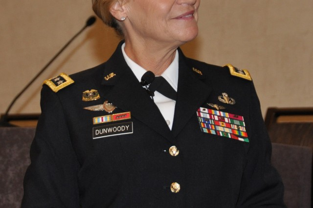 Gen. Ann Dunwoody, AMC's commanding general, briefed the audience on AMC's current condition and way ahead. The National Defense Industrial Association's Materiel Enterprise Small Business Conference featuring the U.S. Army Materiel Command at the Westin in Huntsville, Ala. Wednesday, November 16. U.S.  Army photo by: Cherish Washington.