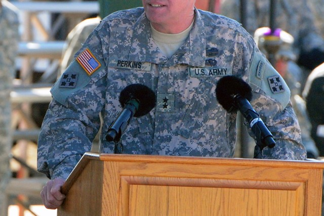 """FORT CARSON, Colo. """" Major General David G. Perkins, outgoing commanding general, 4th Infantry Division and Fort Carson,  addresses the Soldiers, Family members, and civilians that make up the Fort Carson community, during a change of command ceremony at Founders Field, Nov. 16, 2011. Perkins departed the """"Mountain Post"""" to assume command of U.S. Army Combined Arms Center at Fort Leavenworth, Kan. """"Each and every time our nation has asked the Soldiers of the 4th Inf. Div. to do those very hard jobs that others have failed to do,"""" said Perkins, """"the Soldiers of the 4th Inf. Div. always responded to our nation's call."""""""