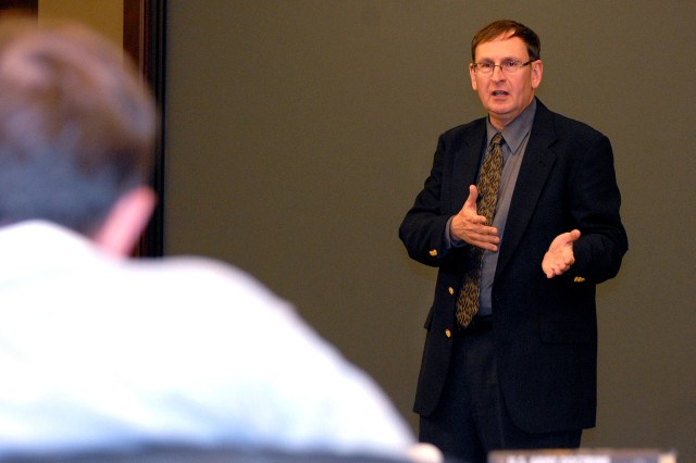 "Walter Kretchik, author of ""U.S. Army Doctrine: From the American Revolution to the War on Terror,"" talks to Command and General Staff College faculty about the ""last war"" Nov. 10 in Arnold Conference Room."