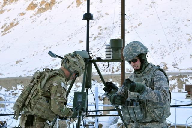 Senior Master Sgt. Paul Walker, left, a squadron superintendent, and Senior Airman Erik Dowling, a staff weather officer, both assigned to the 19th Expeditionary Weather Squadron, set up a Tactical Meteorological Observing Sensor at the north side of Salang Pass. The sensor will allow the Afghan Air Force to collect atmospheric data and disseminate it to ISAF and to the local Afghan population.