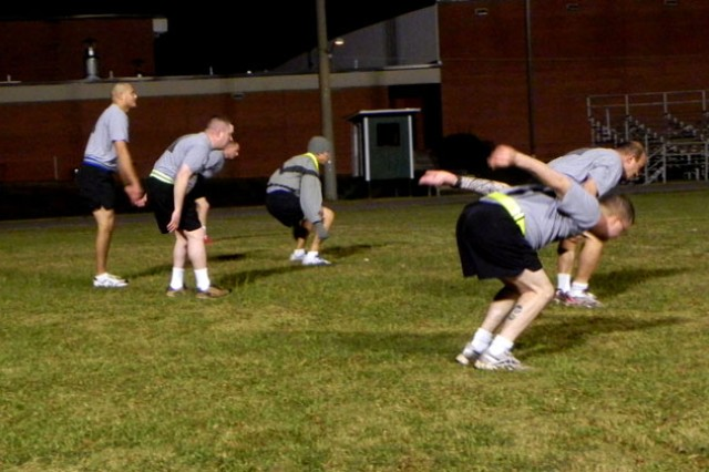 Fort Rucker, Ala., Soldiers practice an exercise that prepares them for the long-jump portion of recent tryouts for the German Armed Forces Proficiency Badge.