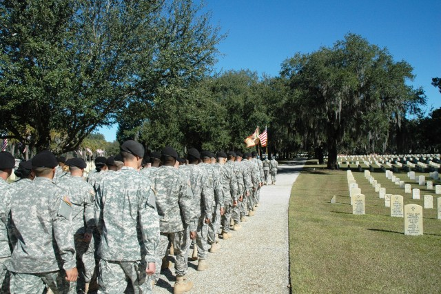 Seventy Soldiers of the 87th CSSB march into the Beaufort National Cemetery after marching 20 blocks in the South Carolina city, Nov. 11, in honor of Veterans Day.