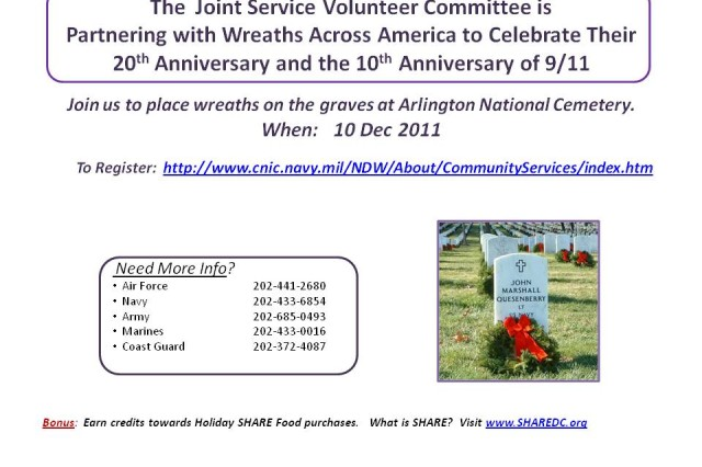 Join us to place wreaths on the graves at Arlington National Cemetery, Va., Dec. 10, 2011.