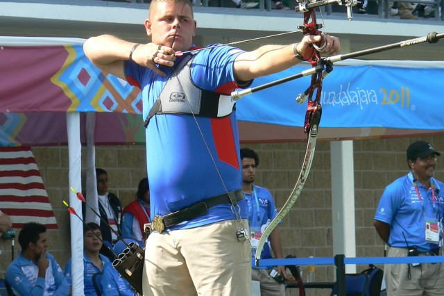 Sgt. Michael Lukow competes in archery at the Parapan American Games in Guadalajara, Mexico,  Nov. 17, 2011, where he won a silver medial.