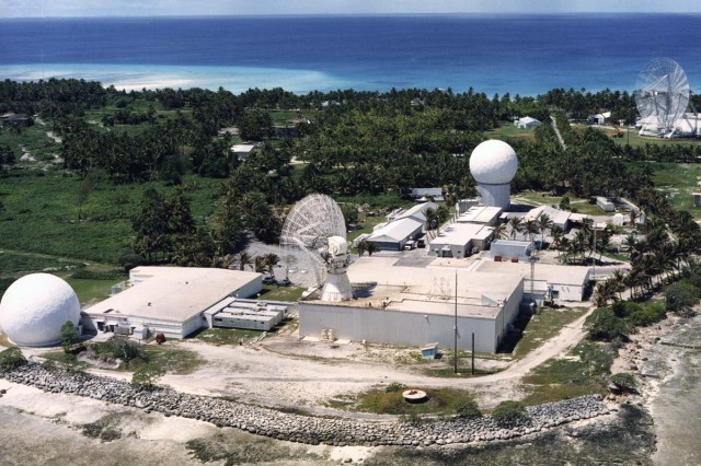 Sensors at the Ronald Reagan Ballistic Missile Defense Test Site at Kwajalein Atoll, located 2,300 miles southwest of Hawaii, are controlled from Huntsville, Ala.