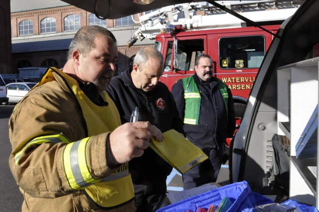 Watervliet Arsenal Fire Captain Mike Boulerice, left, was the incident commander for the exercise. The Watervliet Arsenal hosted emergency first responders from four New York counties in the largest exercise of this type in the New York Capital District.
