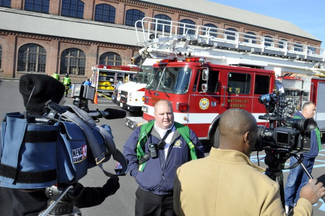 Watervliet Arsenal Fire Chief John Whipple engages the media during the exercise. The Watervliet Arsenal hosted emergency first responders from four New York counties in the largest exercise of this type in the New York Capital District.