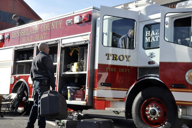 Emergency responders from the City of Troy begin to stow equipment used during the exercise. The Watervliet Arsenal hosted emergency first responders from four New York counties in the largest exercise of this type in the New York Capital District.